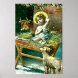 Vintage nativity scene poster