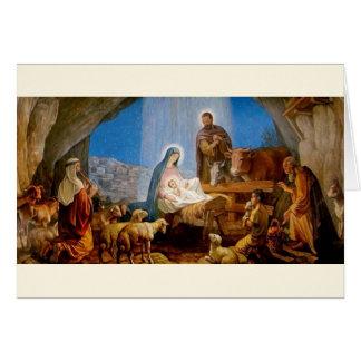 Vintage Nativity Scene Religious Christmas Card