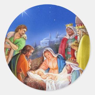 Vintage nativity x-mas round sticker