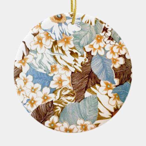 Vintage Natural Blue Floral Elaborate Design Double-Sided Ceramic Round Christmas Ornament