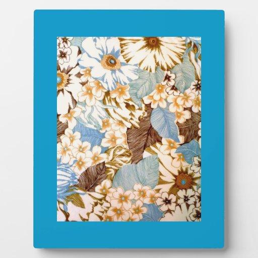 Vintage Natural Blue Floral Elaborate Design Photo Plaque