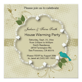 Vintage Nature Blue Bird Party Template Card
