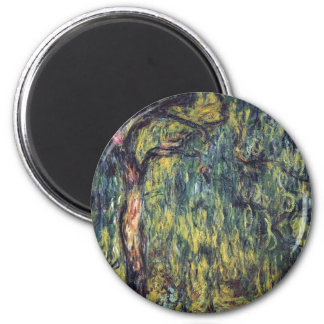 Vintage Nature, Weeping Willow by Claude Monet 2 Inch Round Magnet