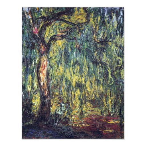 Vintage Nature, Weeping Willow by Claude Monet 4.25x5.5 Paper Invitation Card