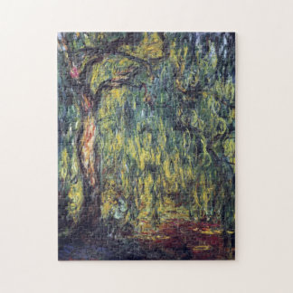 Vintage Nature, Weeping Willow by Claude Monet Puzzle