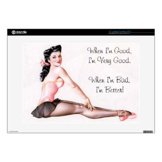 "Vintage Naughty Ballerina Pin Up Decal For 15"" Laptop"