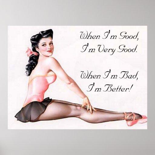 Vintage Naughty Ballerina Pin Up Girl Poster Zazzle