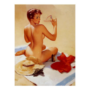Vintage Naughty Beach Beauty Pin Up Girl Poster at Zazzle