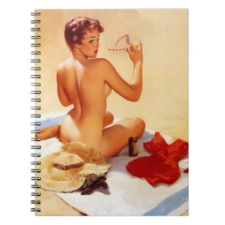Vintage Naughty Beach Beauty Pin Up Spiral Notebook