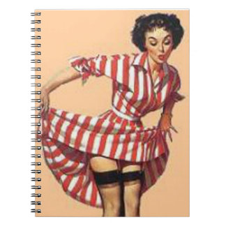 Vintage Naughty Candy Striper Pin Up Spiral Notebook