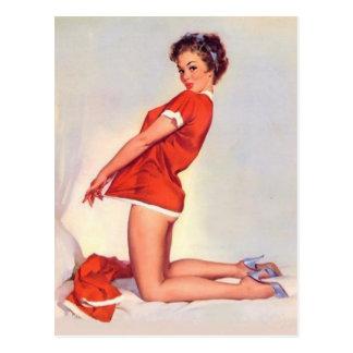 Vintage Naughty Christmas Pin Up Girl Postcard