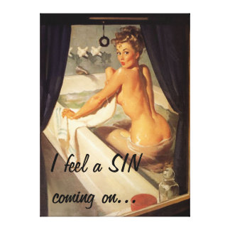 Vintage Naughty Dirty Pin Up Girl Canvas Canvas Print