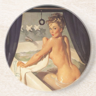 Vintage Naughty Dirty Pin Up Girl Sandstone Coaster