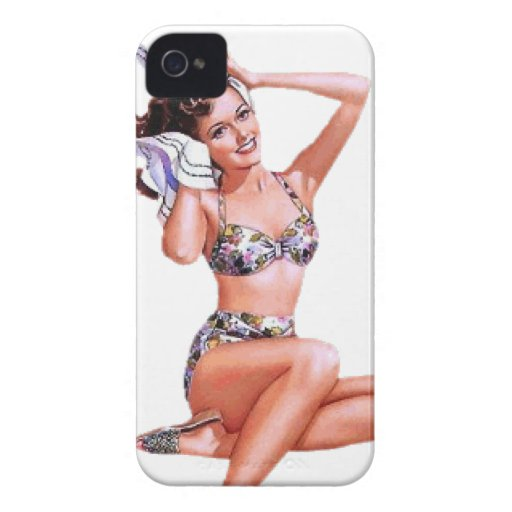 Vintage Naughty Doing the Do Pin Up Girl Case-Mate iPhone 4 Case