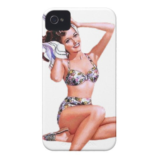 Vintage Naughty Doing the Do Pin Up Girl iPhone 4 Case