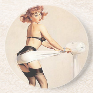 Vintage Naughty Fitness Guru Pin Up Girl Coaster