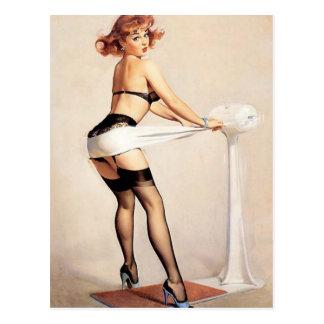 Vintage Naughty Fitness Guru Pin Up Girl Postcards