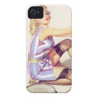 Vintage Naughty Handy Pin Up Girl iPhone 4 Case-Mate Case
