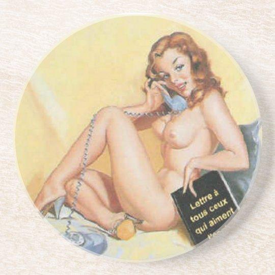 Vintage Naughty Hello Pin Up Girl Drink Coaster