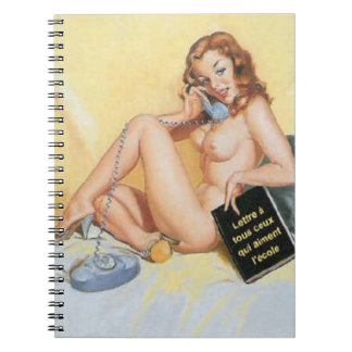 Vintage Naughty Hello Pin Up Spiral Notebook