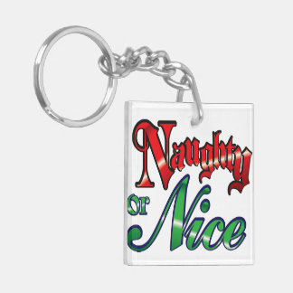 Vintage Naughty or Nice Square Acrylic Key Chain