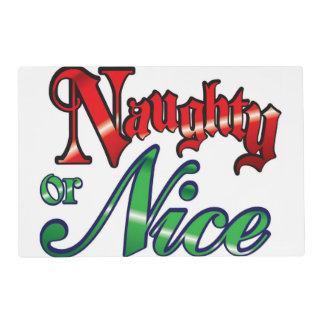 Vintage Naughty or Nice Laminated Place Mat