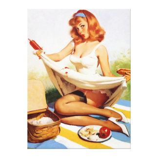 Vintage Naughty Picnic Pin Up Girl Canvas