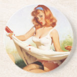 Vintage Naughty Picnic Pin Up Girl Drink Coaster