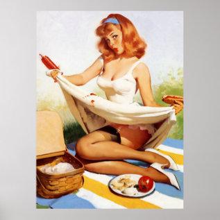 Vintage Naughty Picnic Pin Up Girl Poster at Zazzle
