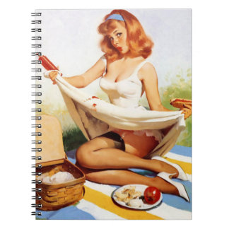 Vintage Naughty Picnic Pin Up Spiral Notebook