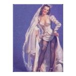 Vintage Naughty Pin Up Bride Canvas Stretched Canvas Prints