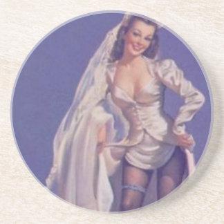 Vintage Naughty Pin Up Bride Coaster