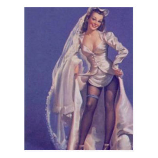 Vintage Naughty Pin Up Bride Postcard
