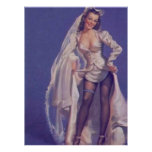 Vintage Naughty Pin Up Bride Poster