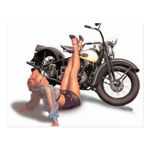 Vintage Naughty Playful Biker Pin Up Girl Postcard