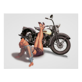 Vintage Naughty Playful Biker Pin Up Girl Poster at Zazzle