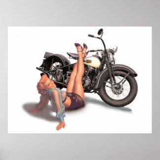 Vintage Naughty Playful Biker Pin Up Girl Poster