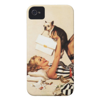 Vintage Naughty Puppy Love Pin Up Girl iPhone 4 Case
