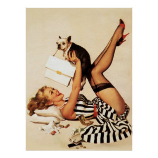 Vintage Naughty Puppy Love Pin Up Girl Poster at Zazzle