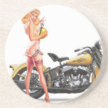 Vintage Naughty Sexie Pin Up Girl Sandstone Coaster