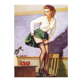 Vintage Naughty Teacher Pin Up Girl Canvas Canvas Print