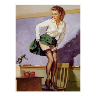 Vintage Naughty Teacher Pin Up Girl Poster at Zazzle