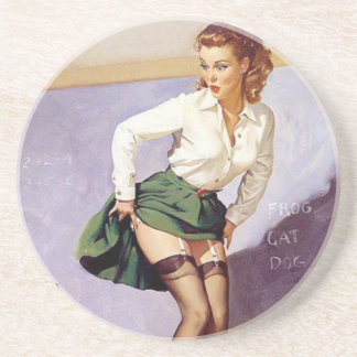 Vintage Naughty Teacher Pin Up Girl Sandstone Coaster