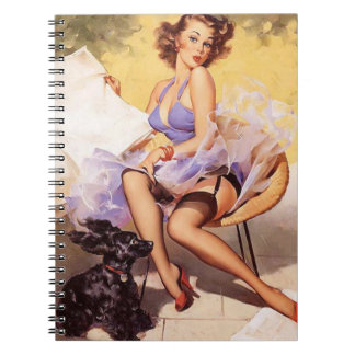 Vintage Naughty Violet Pin Up Spiral Notebook