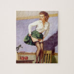 "Vintage Nauhty Teacher Pin Up Puzzle<br><div class=""desc"">Pin Up Girls &amp; Boudoir Photos. A pin-up girl, also known as a pin-up model, is a model whose mass-produced pictures see wide appeal as popular culture. Pin-ups are intended for informal display, e.g. meant to be &quot;pinned-up&quot; on a wall. Pin-up girls may be glamour models, fashion models, or actresses.The...</div>"