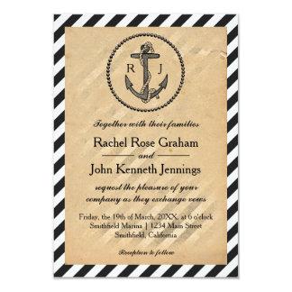 Vintage Nautical Anchor - 3x5 Wedding Invitation