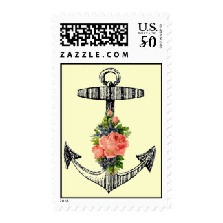 VIntage Nautical Anchor and Roses Postage