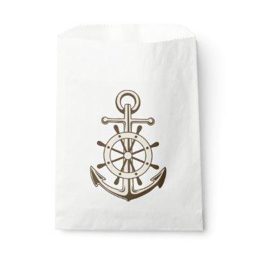 Beach Themed Vintage Nautical Anchor And Ship Wheel Brown Favor Bag