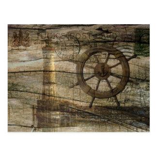 Vintage nautical anchor beach postcard