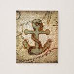 Vintage nautical anchor beach puzzles